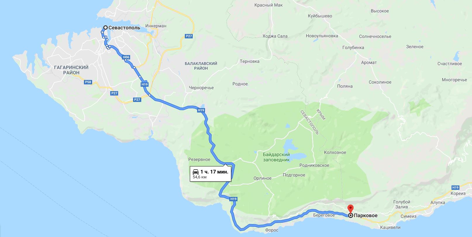 Поселок Парковое на карте Крыма – настоящий рай у моря