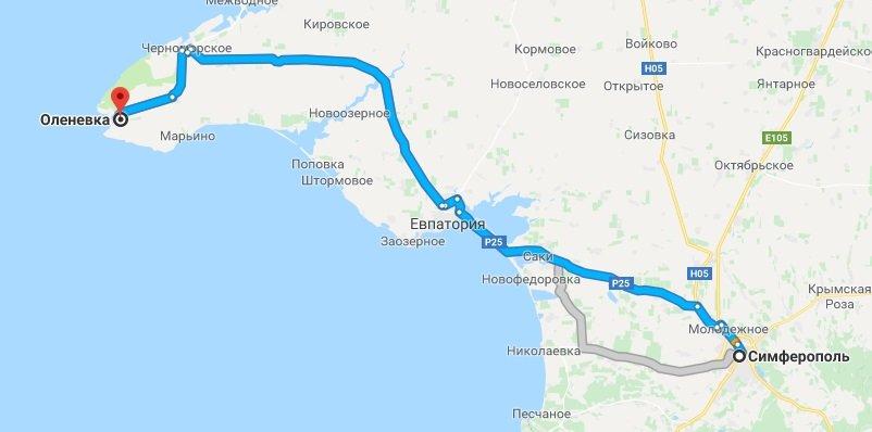 Как добраться от Симферополя до Оленевки