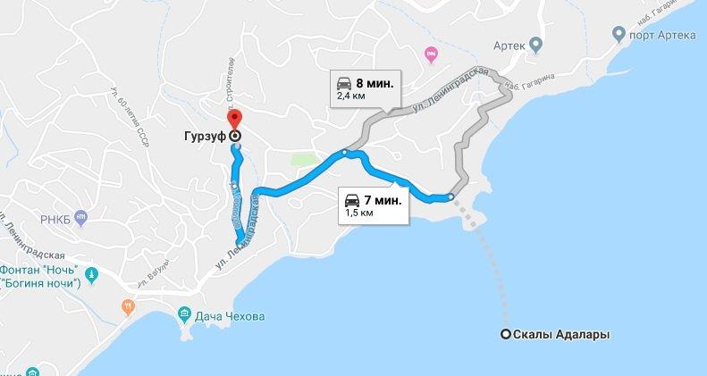 Адалары на карте Крыма: прокладываем маршрут